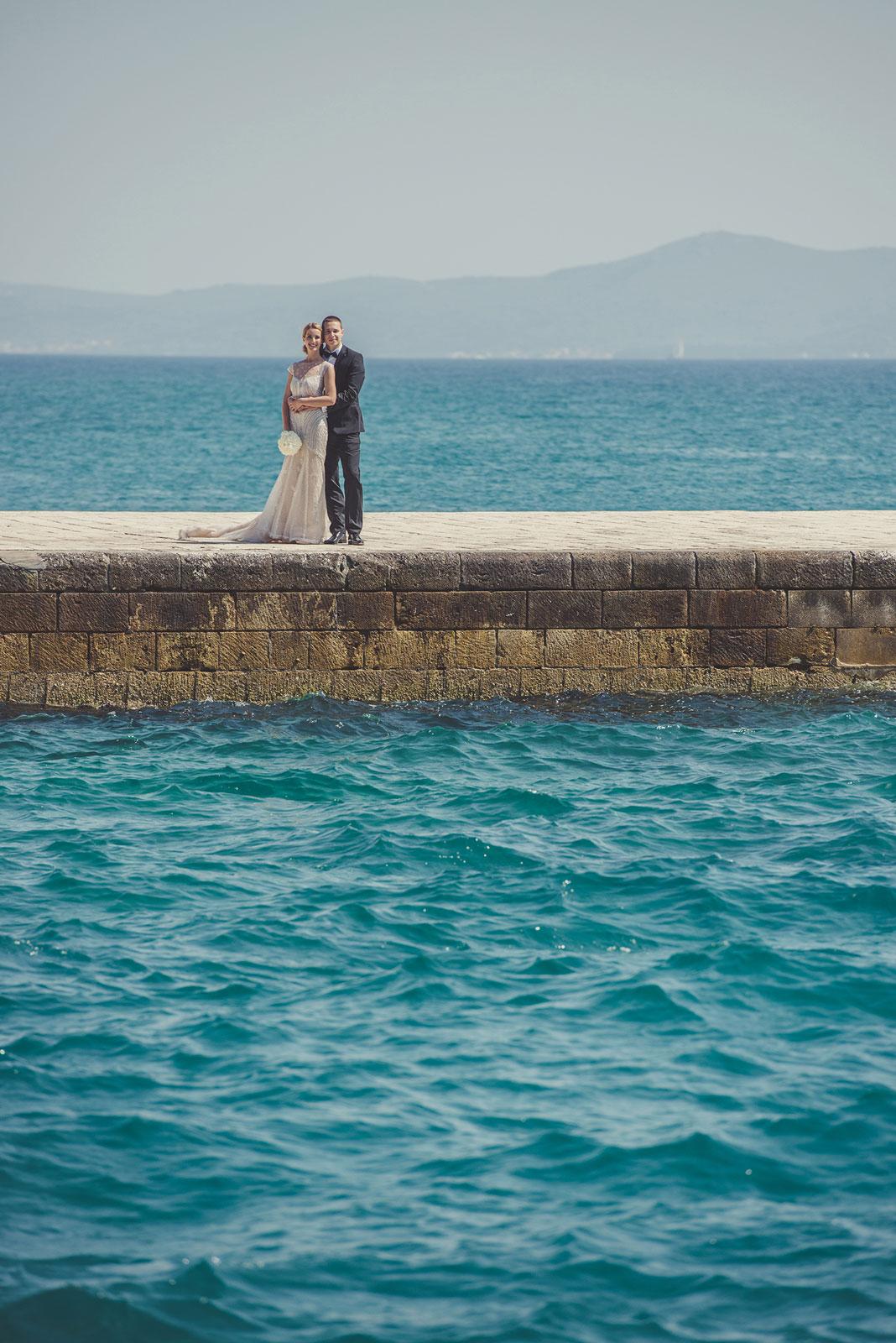 portrait of bride and groom in Dubrovnik