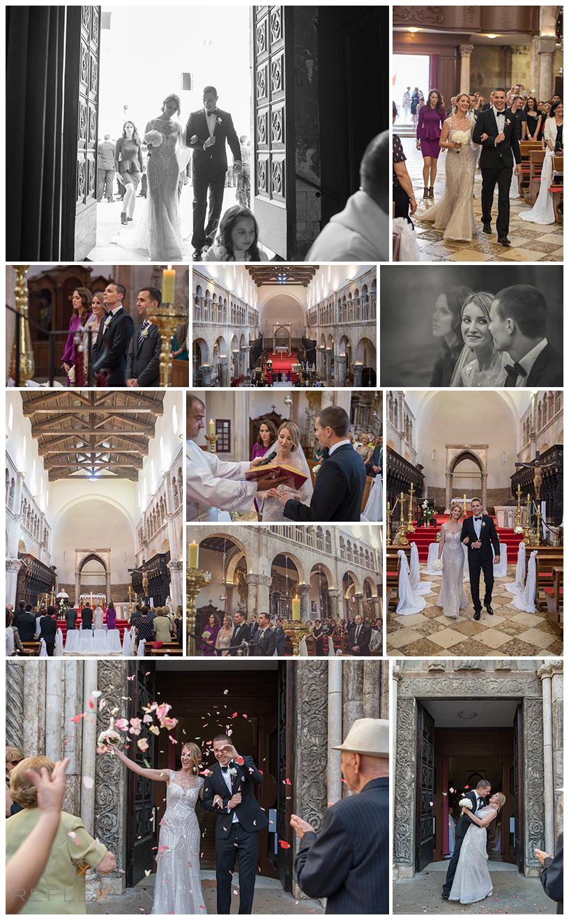 Wedding Ceremony Bride Groom Church Stosije Zadar Old Castle