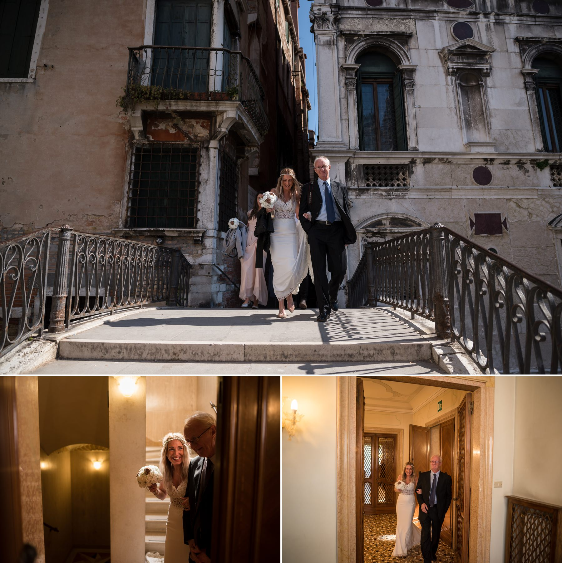 Palazzo Cavalli Venice father walks the bride down the aisle