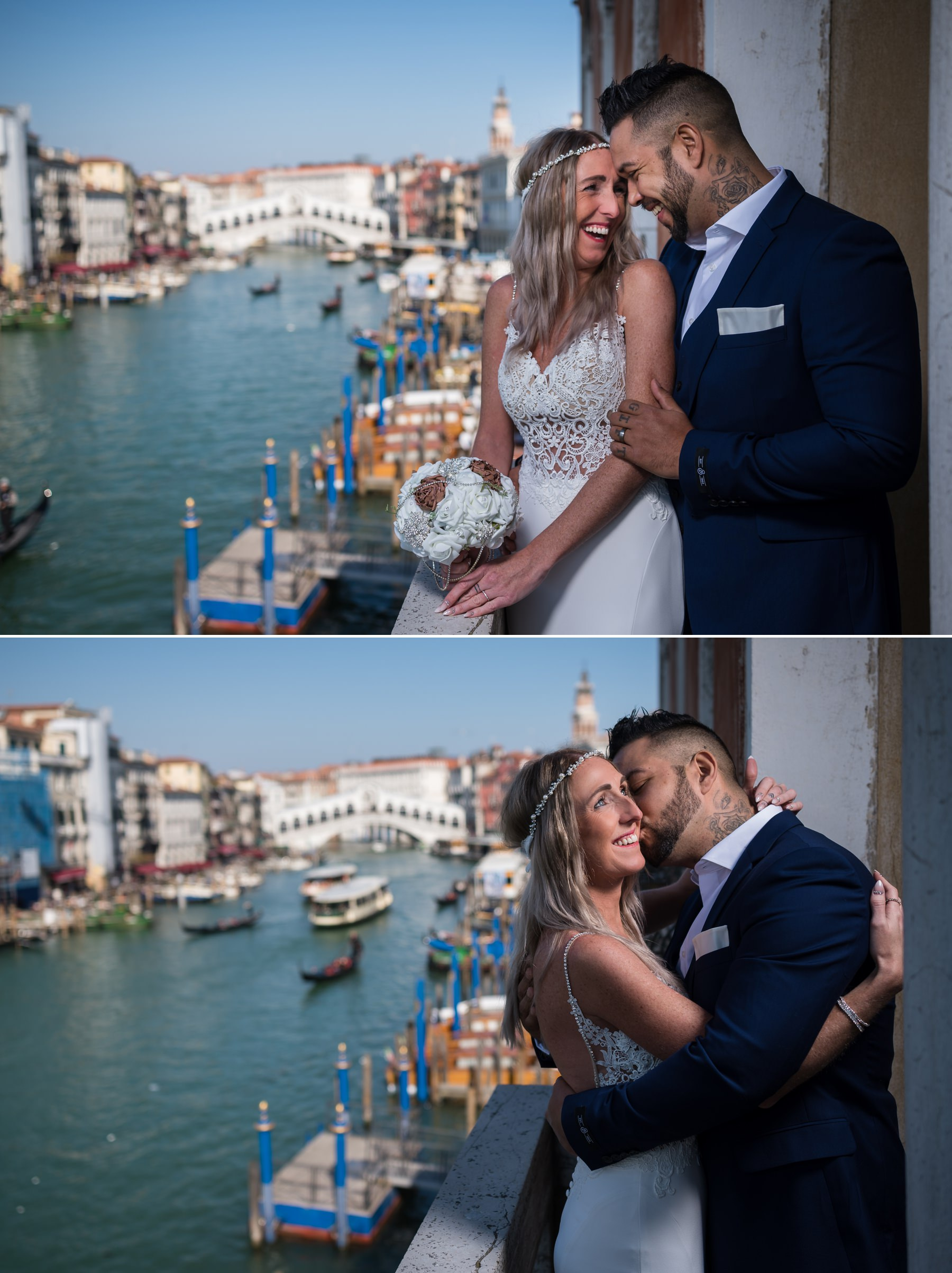 Palazzo Cavalli Venice bride and groom together on balcony rialto bridge in background