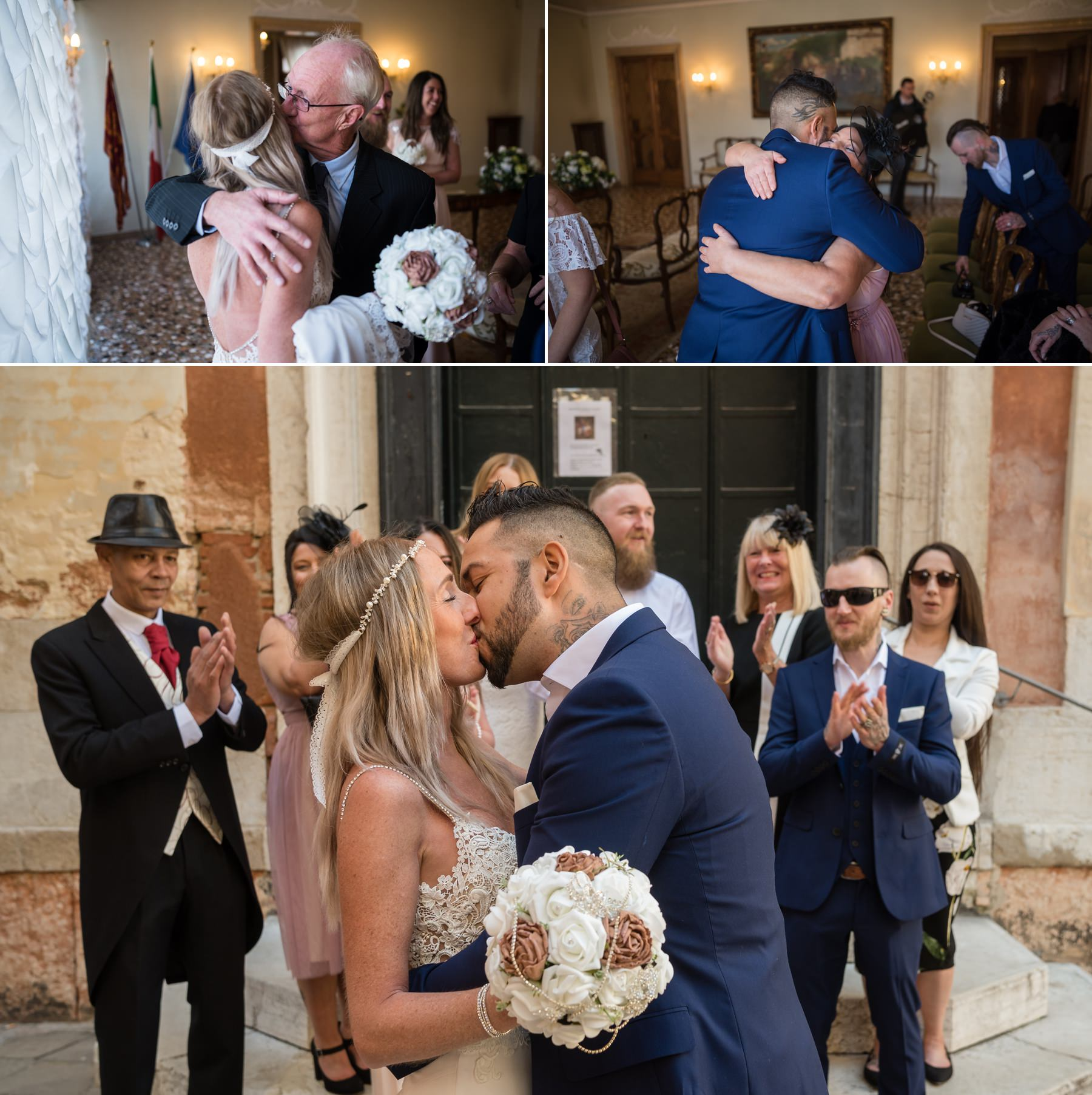 Palazzo Cavalli Venice bride groom with guest together