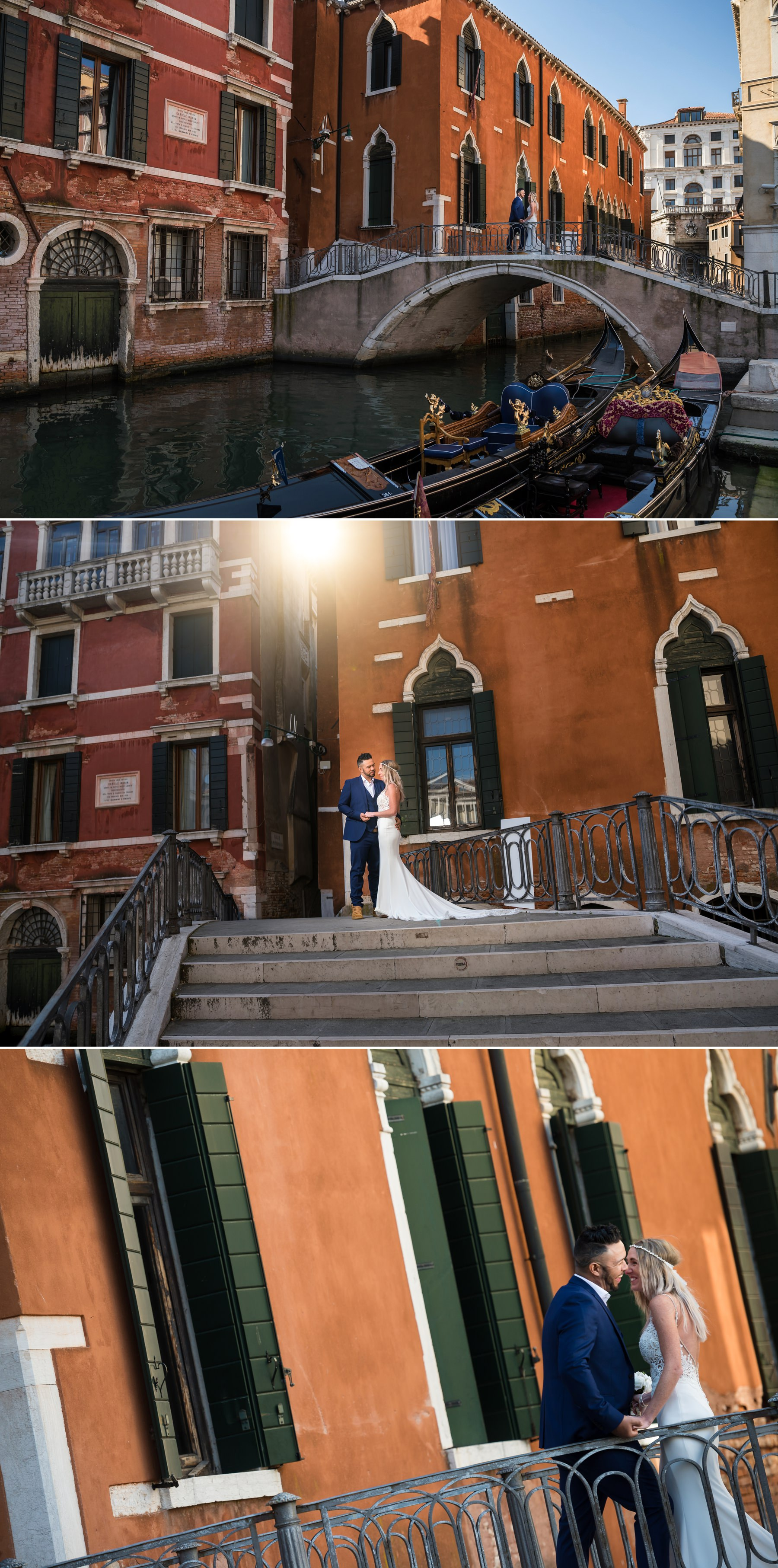 Palazzo Cavalli Venice bride and groom together with gondolas in front