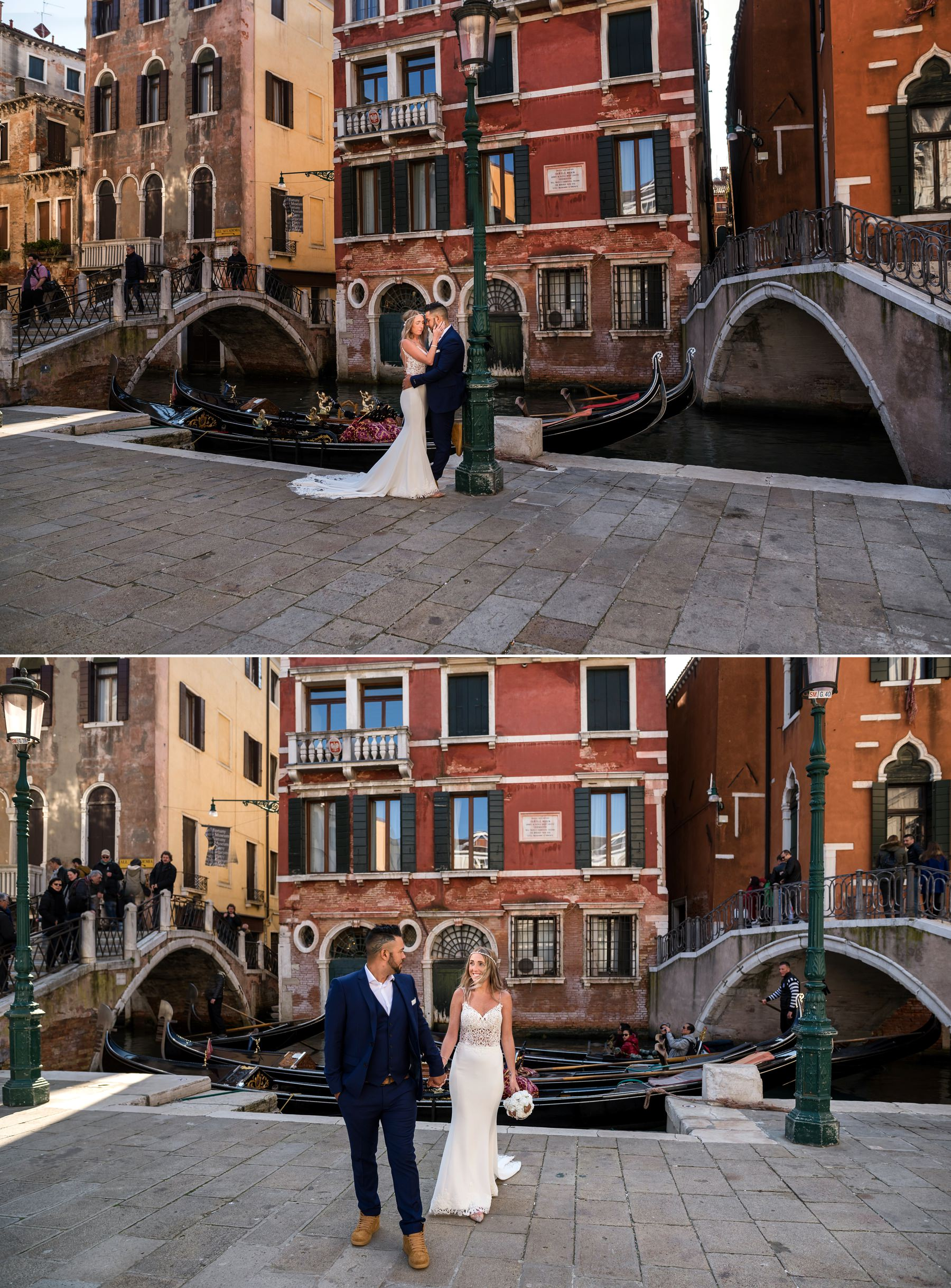 Palazzo Cavalli Venice groom is taking brides hand and walking in venice