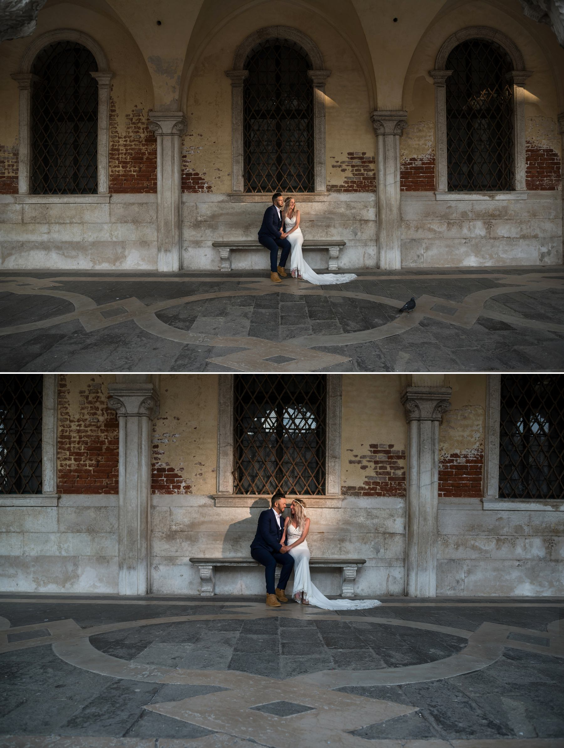 Palazzo Cavalli Venice bride and groom in front of doges palace venice