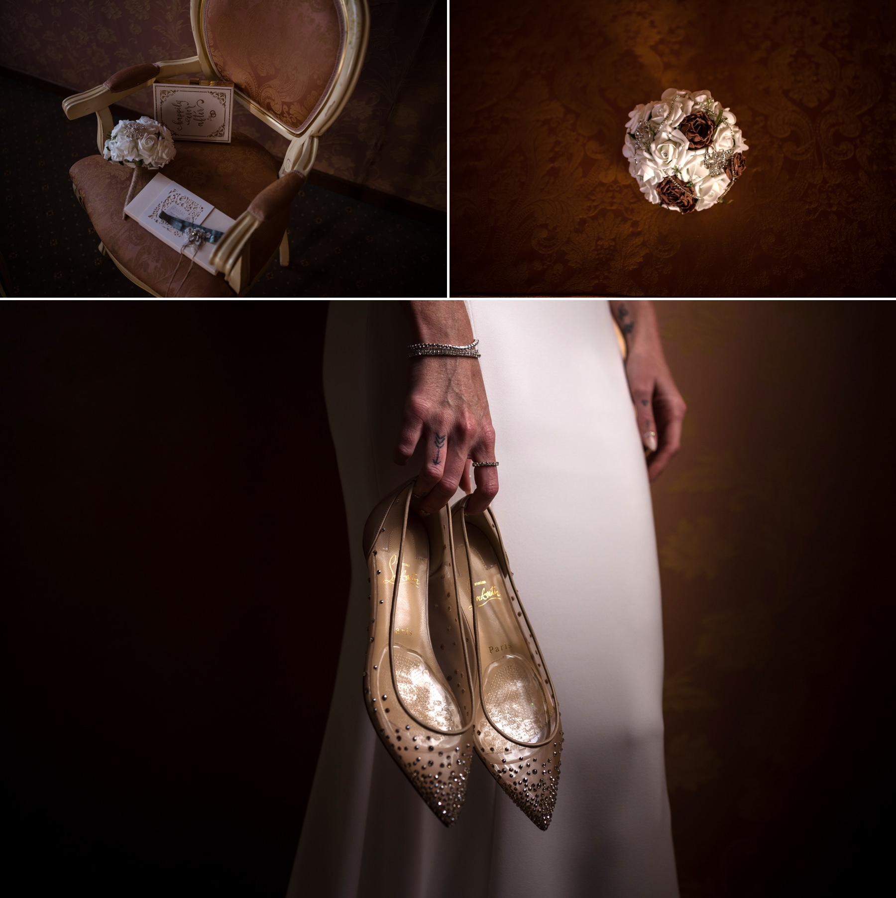 Palazzo Cavalli Venice bride holding gold shoes
