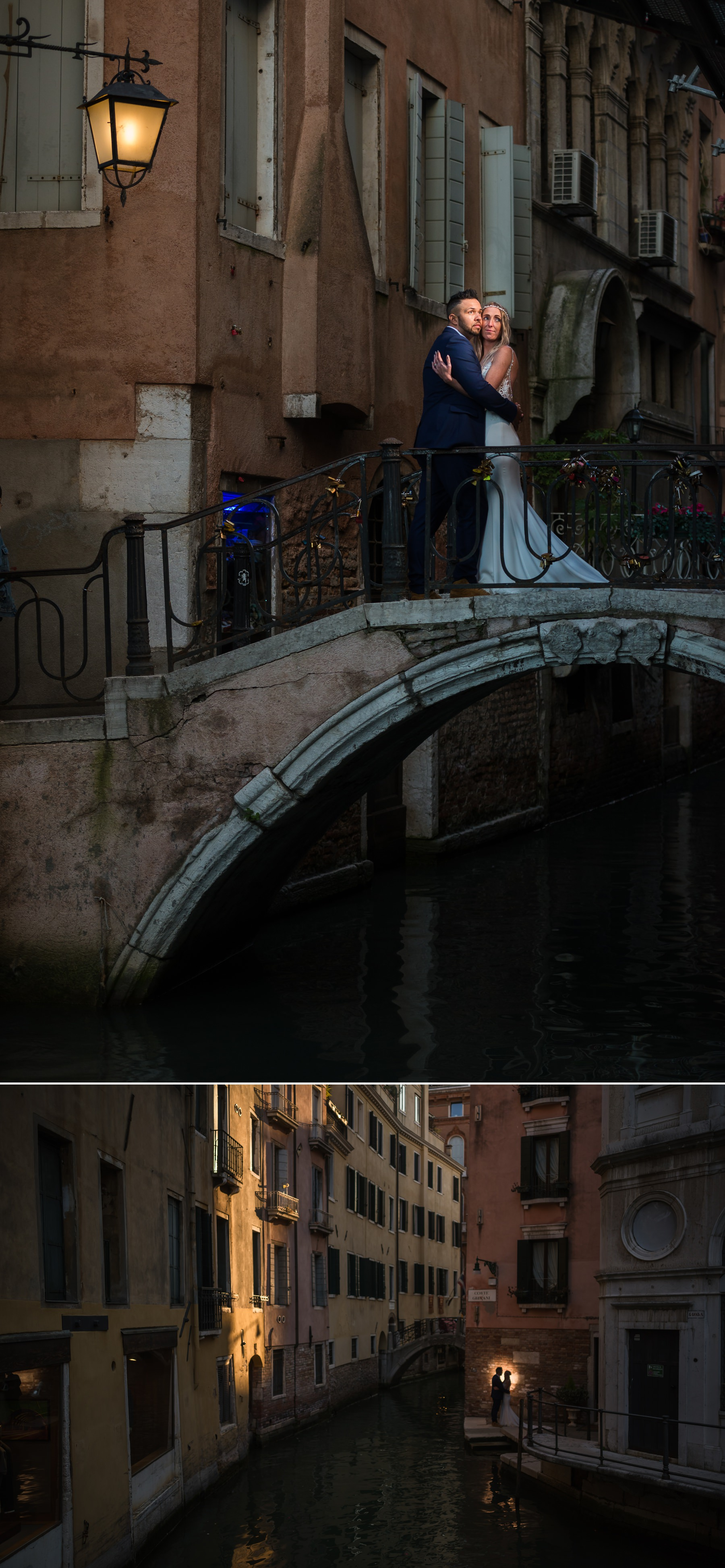 Palazzo Cavalli Venice bride and groom together on one of the bridges in venice