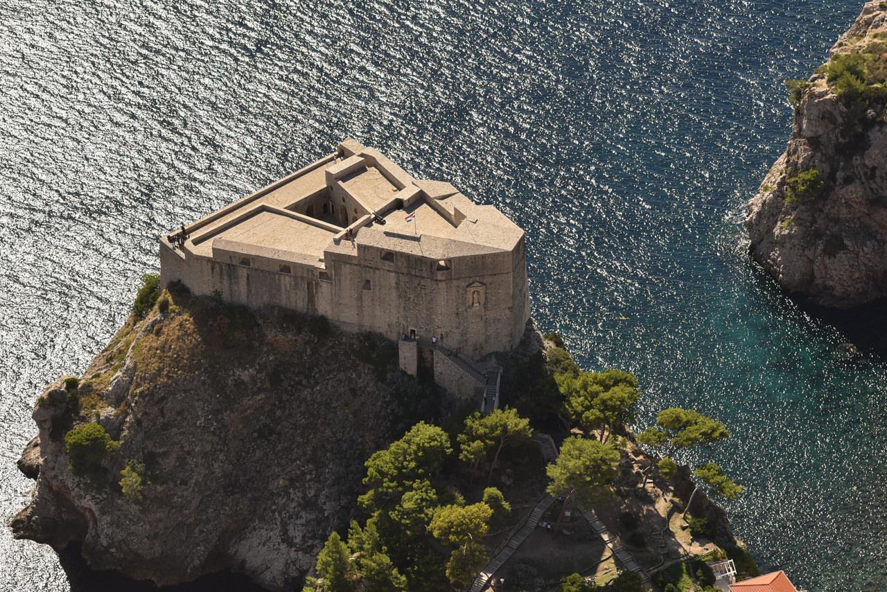 Fort Lovirjenac in Dubrovnikaerial view in late afternoon