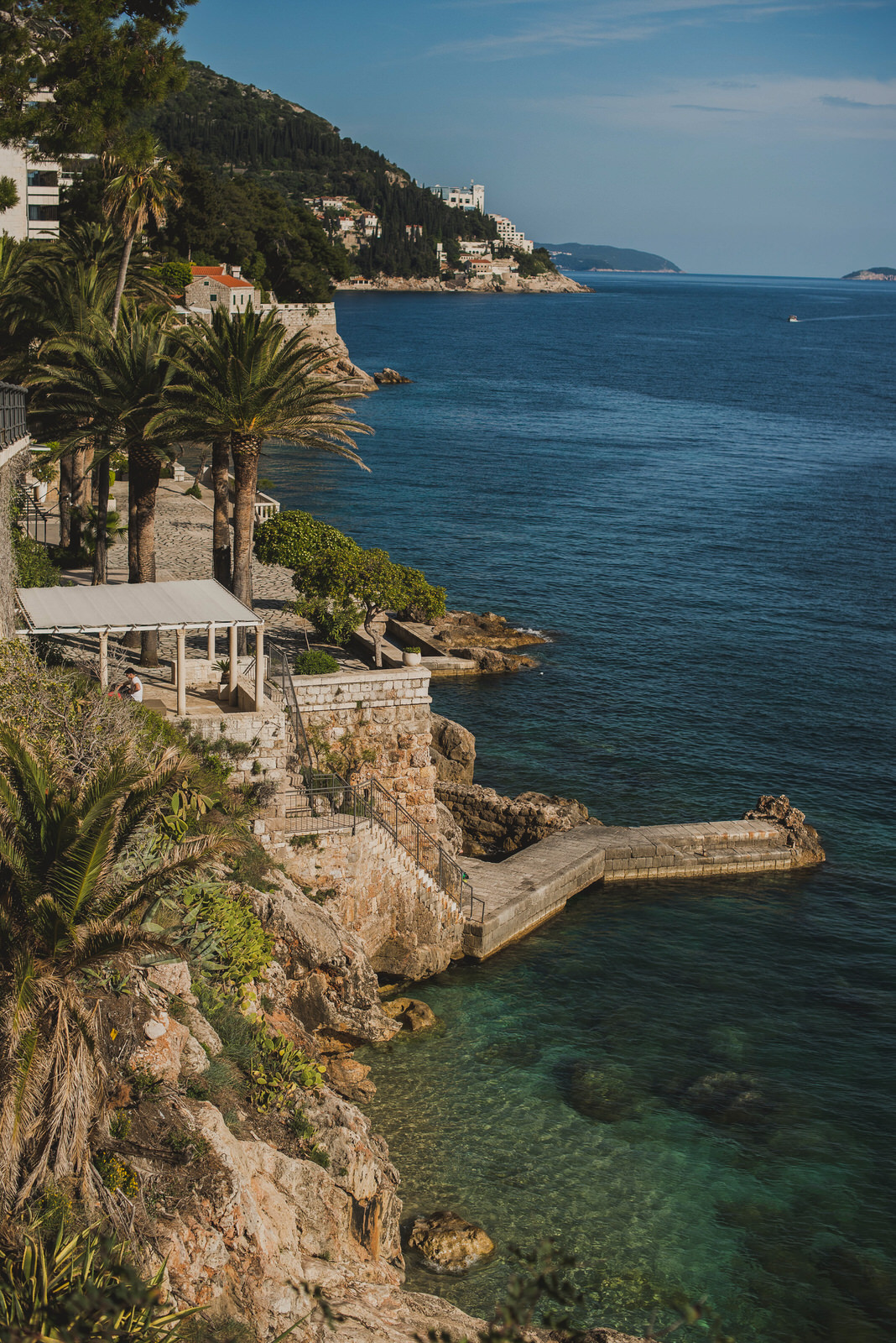 The palm terrace at Hilton hotel in Dubrovnik with sea view