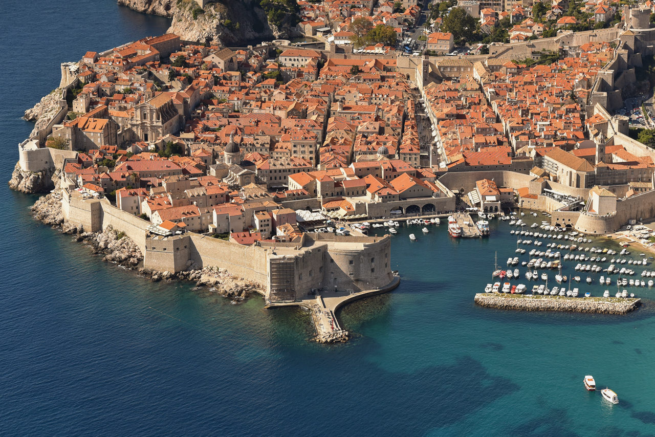 aerial view on sunny summer day at Dubrovnik Old Town