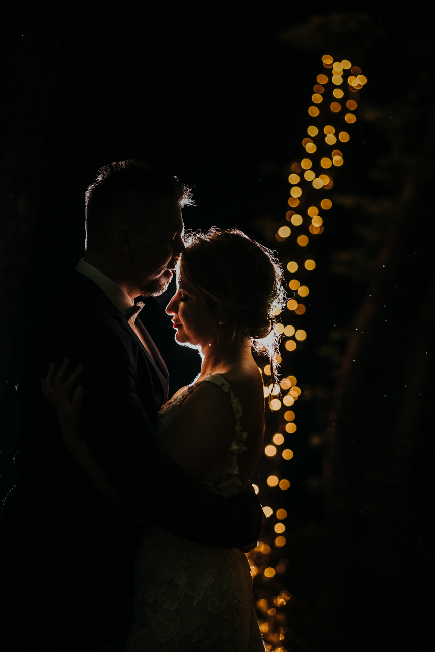 bride and groom portrait kissing back light just for siluethe