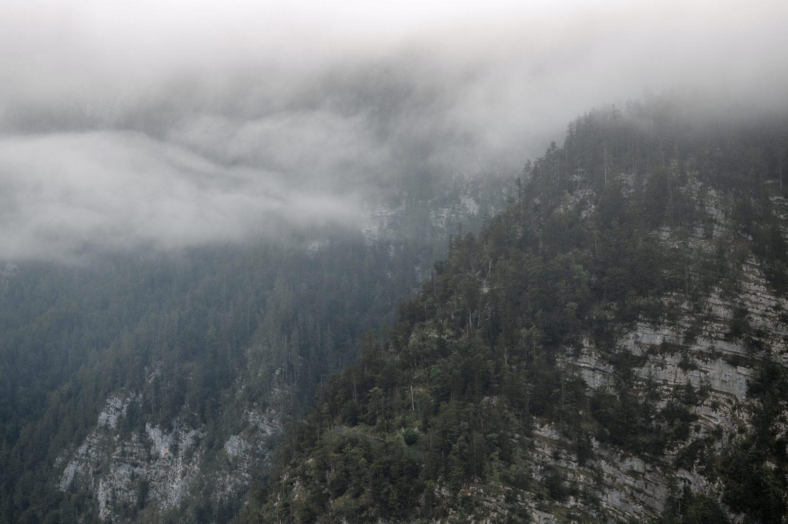 hallstatt mountains with clouds