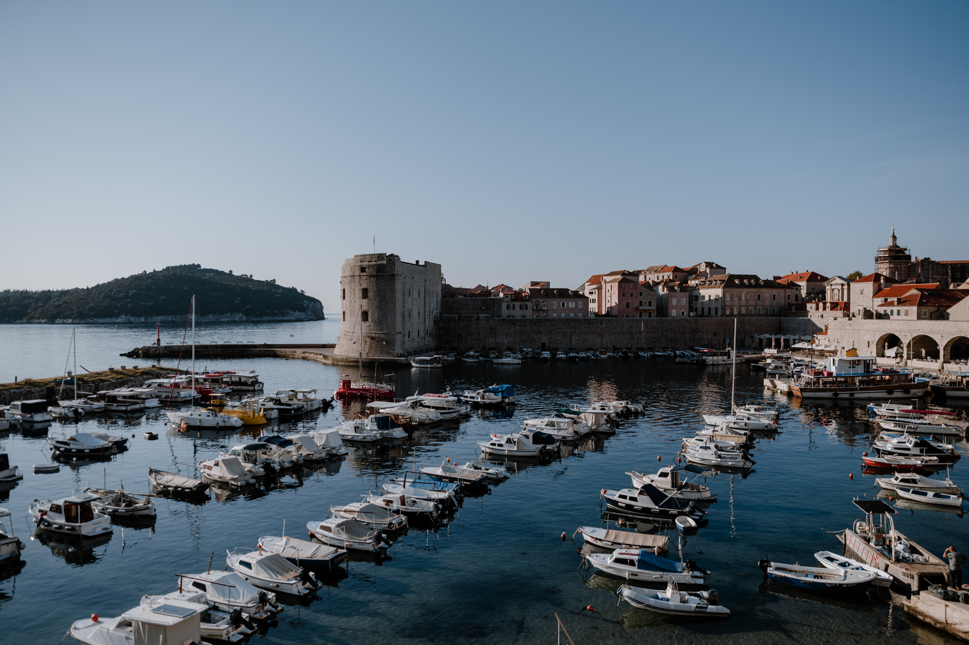 view at old harbour dubrovnik city