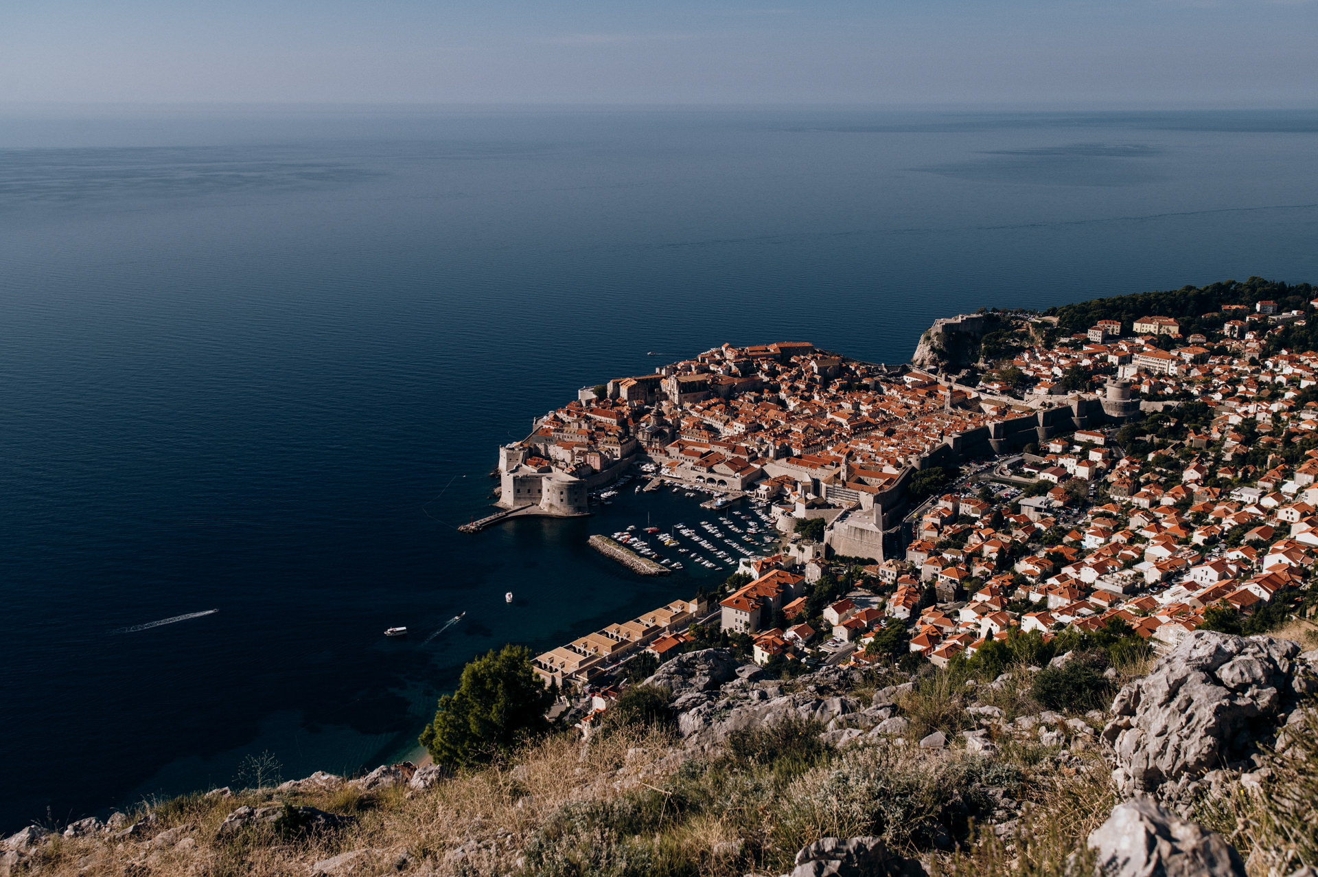 view from Srd to see Dubrovnik Croatia skyline